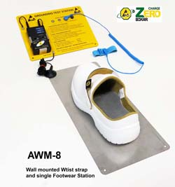 A-WM8 - Wall mounted wrist strap and footwear test station